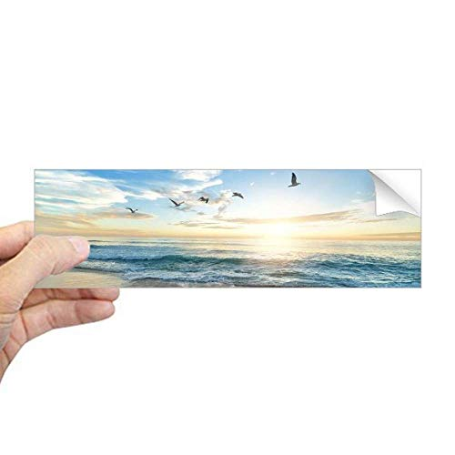 DIYthinker Ocean Zand Strand Vogel Zee Foto Rechthoek Bumper Sticker Notebook Window Decal