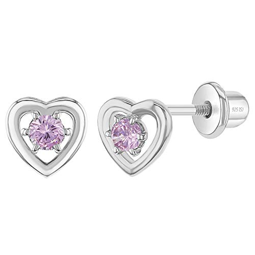 925 Sterling Silver Charming Pink Open Heart Cubic Zirconia Earrings with Tight Locking Screw Back - Excellent for Baby Girls, Toddlers, Young Girls