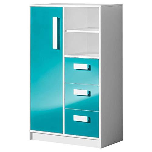 Furniture24 Kommode GULIVER 05 mit 3 Schubladen und 1 Tür Schrank Higboard Kinderkommode (Weiß/Türkis Hochglanz)
