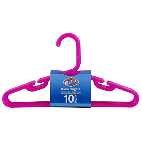 Clorox Glitter Pink Plastic Kids Clothing Hangers for Children | Shoulder Notch Design for Strapped Clothing & Accessories | 10-Piece Value Pack