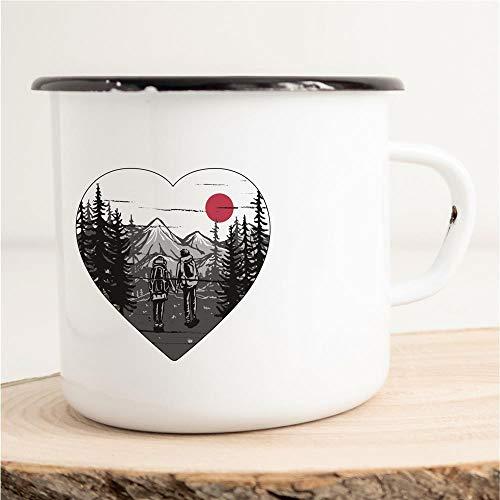 Taza esmaltada con diseño de corazón, para el día de San Valentín, romántica, 300 ml, para viajes al aire libre