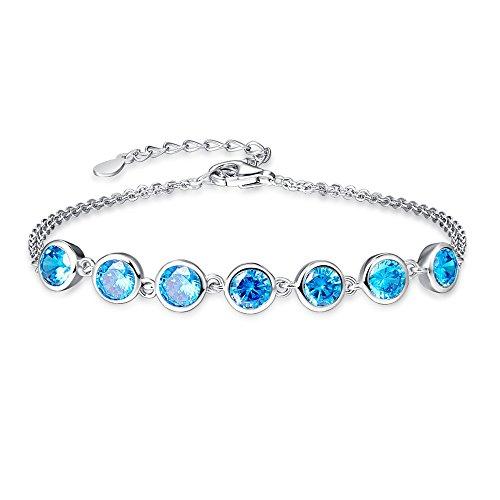BONLAVIE 925 Sterling Silver Round Cut Created Swiss Blue Topaz Birthstone Cross Link Double Chains Bracelet(Topaz)