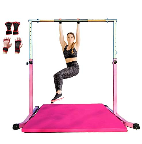 Expandable Gymnastic Kip Bar Pink Gymnastics Horizontal Bar for Kids, Adjustable Height 3' to 5' - Junior Training Bar, Heavy Duty Curved Legs and Cushioned Hand Pad w 6'x4' Tumble Mat and Gloves