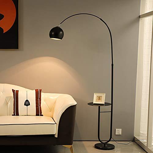 ZMLG LED Stehleuchte mit Ablage, 9W Stehlampe Minimalistisch Bogenlampe Schlafzimmer Höhenverstellbar Leselampe 180° Drehbarer Lampenschirm Angeln Leseleuchte,Schwarz