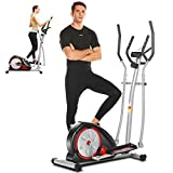 ANCHEER Elliptical Machine, Portable Magnetic Ellptical Exercise Machine with LCD Display & Handle Tracking Heartbeat, Multi-Grip Handlebars for Home Gym (Black)