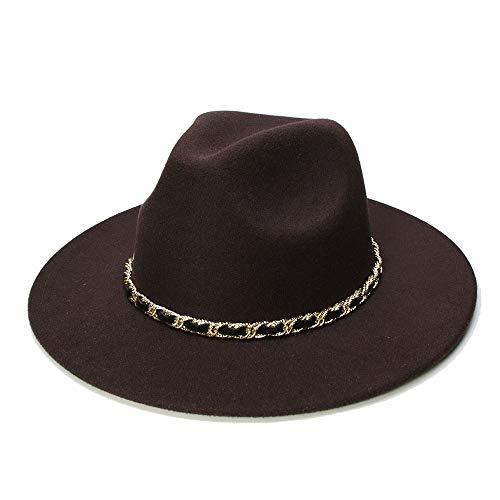 Ying xinguang Invierno Otoño Imitación Lana Mujeres Hombres Señoras Fedoras Top Jazz Hat Sombrero Redondo Americano Europeo Gorras ! (Color : Café, tamaño : 56-58cm)