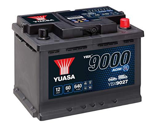 Yuasa YBX9027 Batería de coche AGM Start Stop Plus 12V 60Ah 680A
