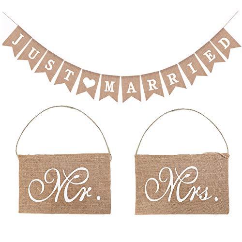 Zasiene Just Married Banderas Boda Guirnalda Boda Just Married Bandera Mr y Mrs Silla Banderines Decoracion para Boda Rústica Despedida de Soltera Compromiso