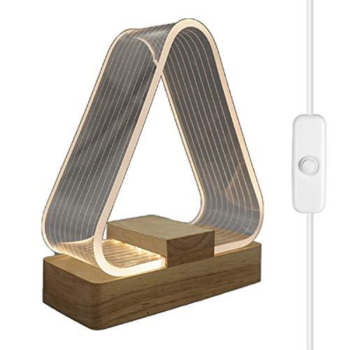 Lampara Mesilla de Noche Lámpara de Mesa Achort Luz Nocturna LED Moderna para Dormitorio Madera maciza minimalista Luz Blanca Cálida Sala de Estar Habitación para Dormitorio Sala de Estar Oficina