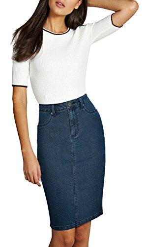 Womens Super Comfy Stretch Denim Skirt SKS22884 Medium Blue 12
