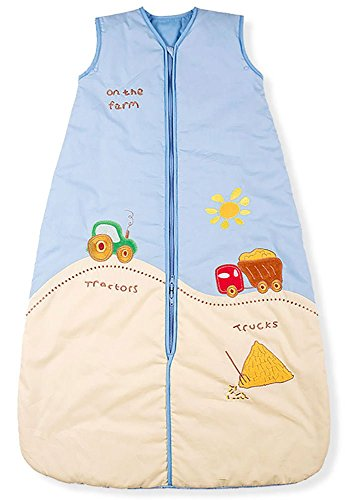 Kiddy-Kaboosh Baby Sleeping Bag, Tractor & Truck, 2.5 tog Standard (Year Round) Weight, Size 3-12 Months - Adjustable Length - Also use in car Seats