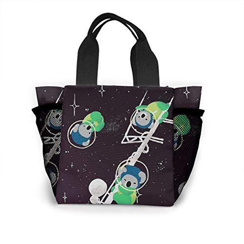 N/A Jongens Meisjes Geïsoleerde Neopreen Lunch Bag - Astronaut Koala Tote Handtas Lunchbox Voedsel Container Pouch Voor School Werk Kantoor