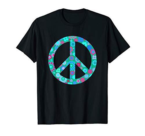 Love Peace 60er 70er Jahre Hippie-Kostüm Flower Power Retro T-Shirt