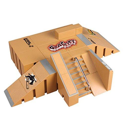 Mentin 8 Stücke Skate Park Kit Rampe Teile für Tech Deck Griffbrett Mini Finger Skateboard (8092A)