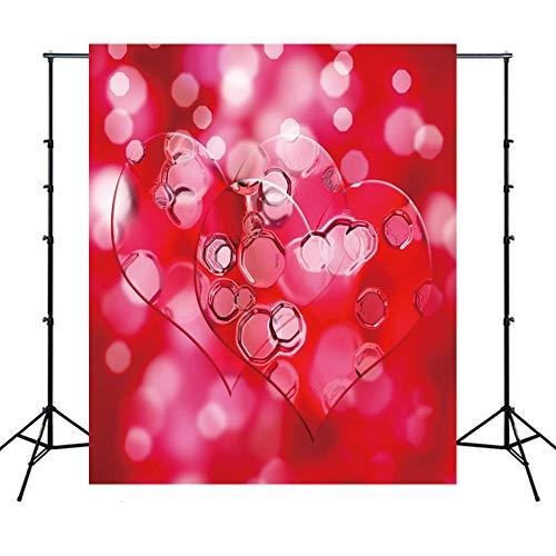 WQYRLJ 3D Valentijnsdag fotografie achtergrond, perzik hart wijnglas bokeh vinyl achtergrond voor huis huwelijk feest-portret studio props 10x10ft D