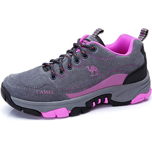 CAMEL CROWN Womens Hiking Shoes Leather Sneaker Breathable Lightweight Walking Shoes for Women Outdoor Sport Running Training Gray Size 7