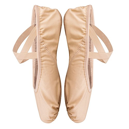 Zapato de Ballet para Niña y Mujer,Zapatillas Media Punta de Ballet Transpirable,Suaves Lona Gimnasia Zapatillas Baile Clásico, Suela Partida Cuero,Albaricoque-Rosa,27(175 mm)