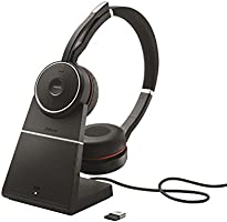 Jabra Evolve 75 UC Wireless Headset, Stereo – Includes Link 370 USB Adapter and Charging Stand – Bluetooth Headset with...