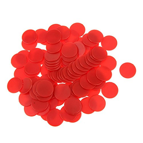 100pcs Jetons de Jeux Opaque Compteurs en Plastique pour Compter ou Marquer - Rouge