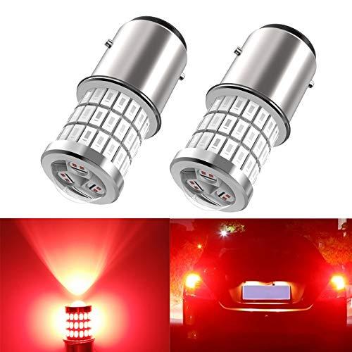 1157 Led Brake light, 1157 7528 2357 2057 BAY15D Led car bulbs, Upgrade 12V 24V 57SMD with projector replacement for Back Up Reverse Tail Brake Parking Lights, Brilliant Red 2pcs