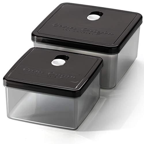 Casa Origin Lebensmittelbehälter mit Deckel, quadratisch, Schwarz, 2 Stück