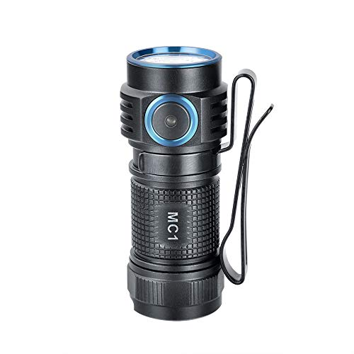 TrustFire MC1 Mini torcia LED CREE XP-L HI CW LED max 1000 lumen con batteria agli ioni di litio 16340 IMR e cavo di ricarica USB magnetico ricaricabile, alluminio e nero