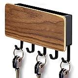 ITALNIC Llavero de pared Organizador de almacenamiento para llavero Portacartas de pared en madera y tablero de ABS con estante Contenedor 18 x 10 x 3 cm Decoración de pared 3 colores… (Nuez Oscuro)