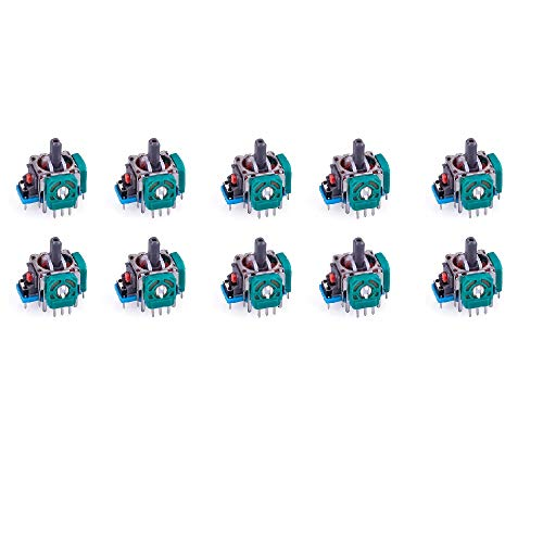 DollaTek 10Pcs 3D Replacement Analog Stick Joystick for PS4 and Xbox One Controller