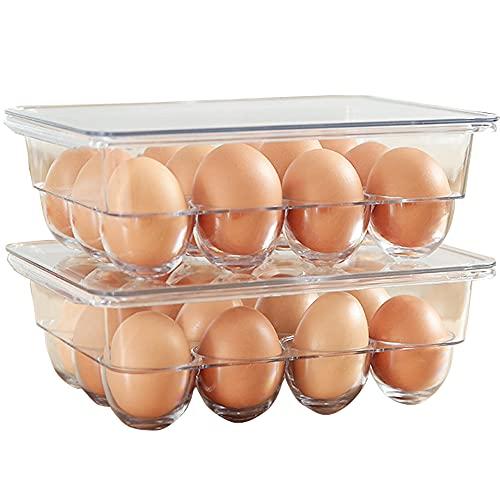 Envase para Huevos, Caja Envase para Huevos, Dispensador de Huevos Caja, Huevera de Plástico para la Nevera, para Almacenamiento Huevos Sala Almacenamiento Refrigerador Cocina (Transparente)