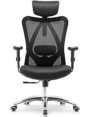 Mahmayi Ergonomics Office Chair Computer Chair Desk Chair, Adjustable Headrests Chair Backrest and Armrest'S Mesh Chair (Black)