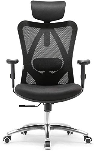 Sihoo Ergonomics Office Chair Computer Chair Desk Chair, Adjustable Headrests Chair Backrest and Armrest's Mesh Chair (Black) chairs Desk Dining Features Home Kitchen Office