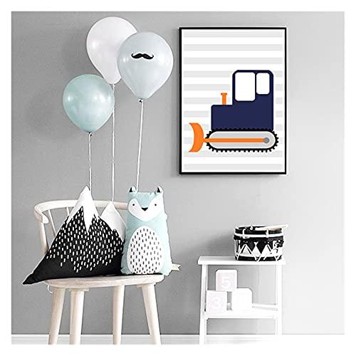 RHWXAX Nursery Barn Room Decoration Cartoon Car Affischer och utskrifter för vardagsrum Pojkar Presentkort Hemrum Inredning 16x24inch Ingen ram