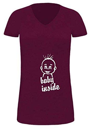 extralanges Lady T-Shirt für Schwangere/Promodoro (Fb. Burgundy) (Gr. XL) Baby Inside + Babykopf