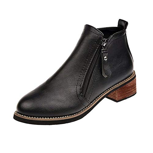 MuSheng(TM) Bottes Bottines Cuir Femme,Karston Chaussures Boot Plateforme Vintage Chunky éPais Heel Bottines Bottines Chaussures ZippéEs (39EU, Noir)