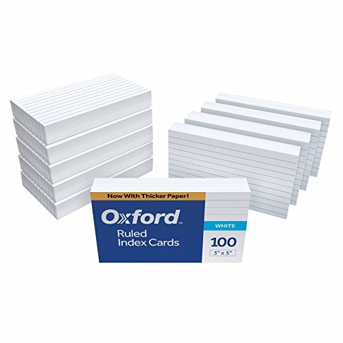 "Oxford Ruled Index Cards, 3"" x 5"", White, 1,000 Cards (10 Packs of 100) (31)"