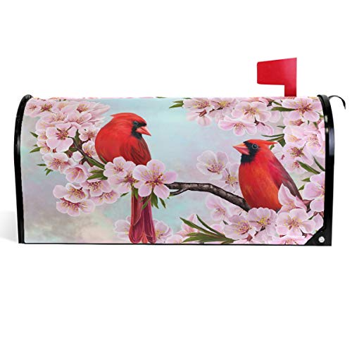 """Wamika Spring Flowers Birds Mailbox Covers Magnetic Summer Sakura Red Cardinal Mailbox Cover Standard Size 18"""" X 21"""" Mailbox Wraps Post Letter Box Cover Home Garden Decorations"""