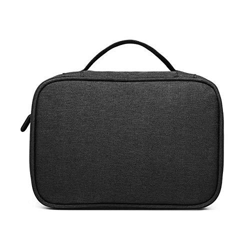 Zsnh Portable Polyester Cable Bag Hard Drive Ipad Mini Storage Pouch Kit Case Accessories Digital USB Gadget Organizer (Color : Black single layer)