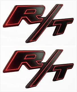 Qptimum D-RT-BR 2X RT R/T Fender Trunk Emblem Badge Sticker Decal Fit for Challenger Charger Avenger (Red)