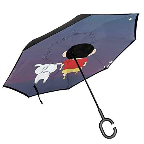guatan Reverse Inverted Umbrella, doppelschichtiger winddichter Wachsmalstift Shinchan Ba Umklappbarer Regenschirm mit C-förmigem Griff