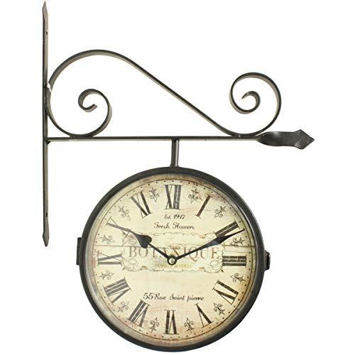 Horloge De Gare Ancienne Double Face Botanique 24cm - Fer Forgé - Blanc - Décoration d'Autrefois