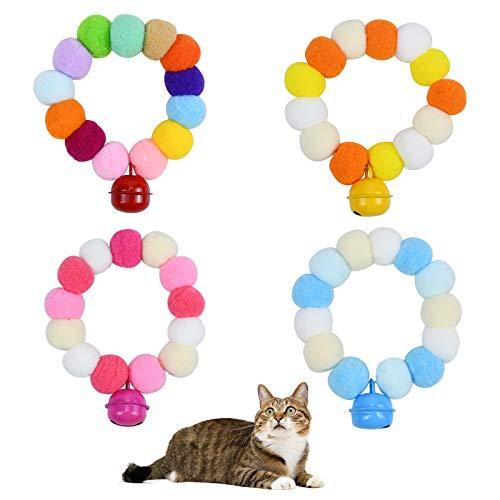 AvoDovA Collare per Gatto con Campanellini, 4 Pz 35cm Piccolo Gatto Cane Collare, Collare Elastica Sicurezza, Pompon Colletto a Sfera