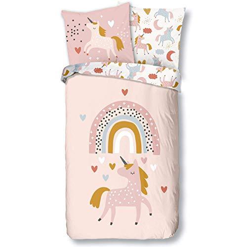 Aminata Kids Bettwäsche Einhorn 135-x-200 Mädchen Kinder Baumwolle Jugendliche Teenager - Einhornbettwäsche mit Reißverschluss - Einhorn-Motiv - Kinder-Bettwäsche-Set - Pferde-Motiv, beige