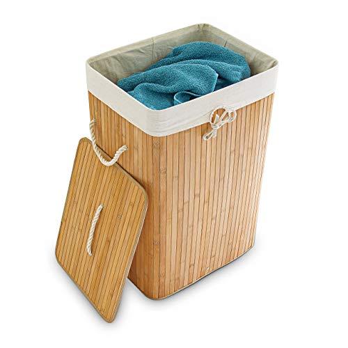 Relaxdays Wäschekorb Bambus, mit Deckel, rechteckig, XL, 83 L, faltbarer Wäschesammler, HBT 65,5 x 43,5 x 33,5 cm, natur