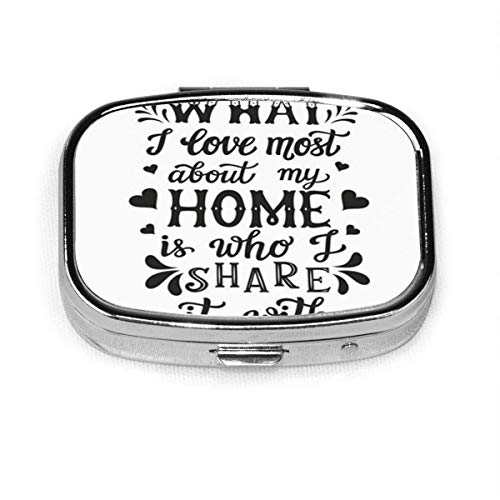 Hand Lettering Calligraphic What I Love Most About Square Pill Box Decorative Boxes Pill Case Medicine Tablet Holder Walle