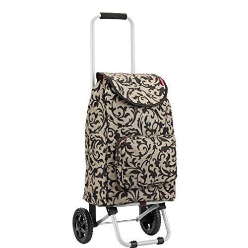 Yuany Einkaufstrolley,Leichte zusammenklappbare Senior Einkaufswagen Gepäck nach Hause Treppensteigen mit 2 Rädern tragbaren Abschleppwagen (Farbe: B)