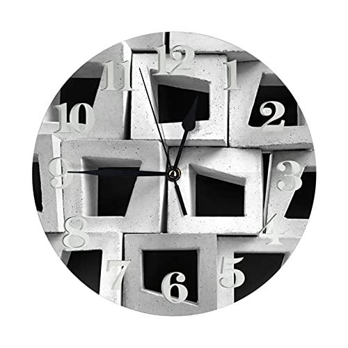 Gris Negro Blanco Cajas Reloj Relojes de Pared a Pilas Reloj Decorativo Redondo Reloj de Pared fácil de Leer para Sala de Estar Oficina en casa Escuela de 10 Pulgadas