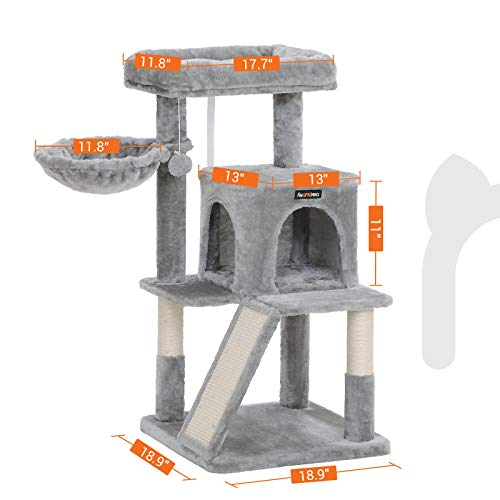 FEANDREA Cat Tree with Sisal-Covered Scratching Posts, Cat Tower, Cat Condo UPCT51W