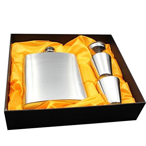 Guangcailun Cadera del Acero Inoxidable Frasco de 7 oz pote del Vino de la Botella de la garrafa portátil Botella de Vino Embudo Whisky Pot Vidrio de Tiro en Caja de Regalo
