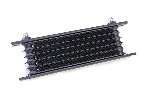 """Autobahn88 Aceite universal automática transmisión ATF fluido enfriador, 6 hileras, núcleo compacto tamaño 10 x 3,4 x 1,4""""(260x85x35mm),-6AN adaptadores, negro"""