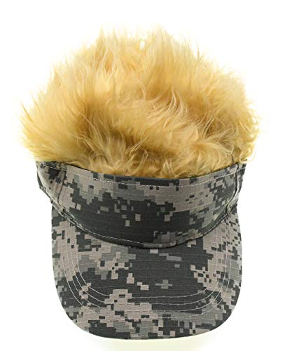 Adult Novelty Sun Visor Cap with Spiked Hairs Wig Peaked Adjustable Baseball Hat (Green Camo-Yellow)